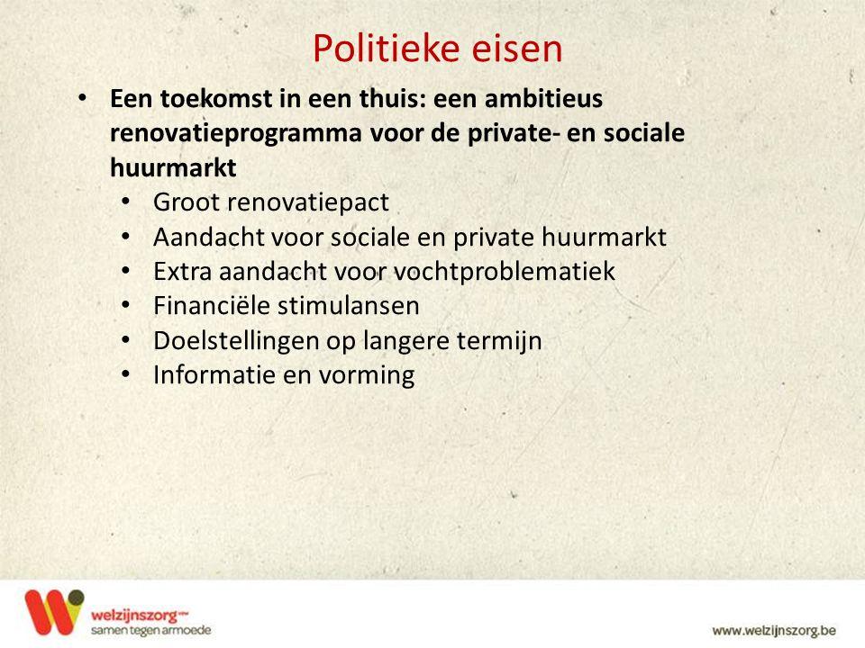 Politieke eisen Een toekomst in een thuis: een ambitieus renovatieprogramma voor de private- en sociale huurmarkt.