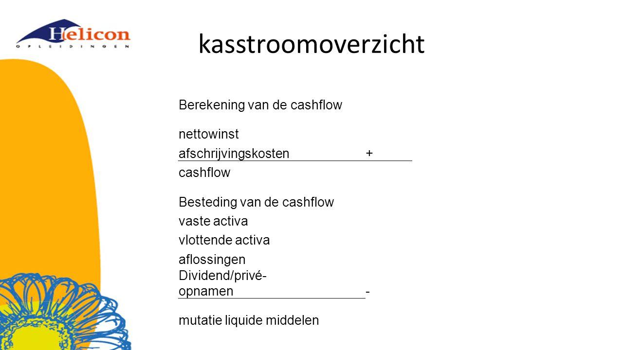 kasstroomoverzicht Berekening van de cashflow nettowinst