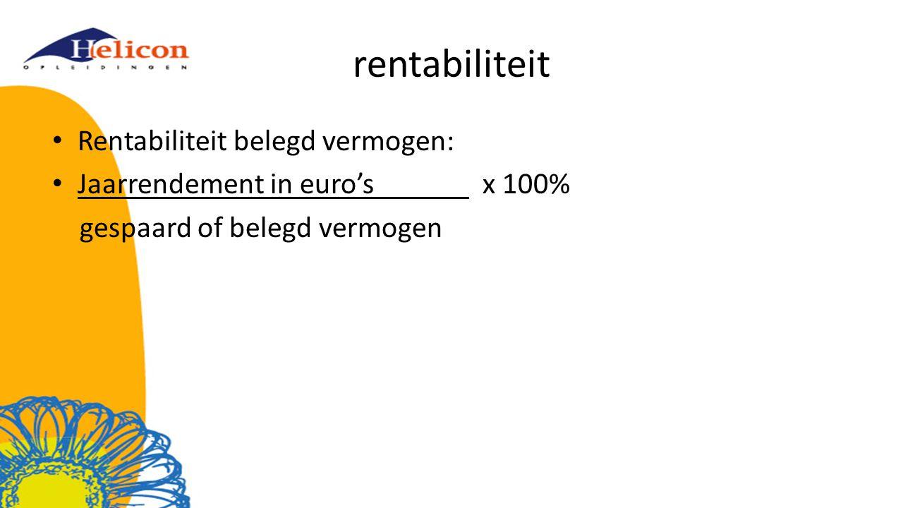 rentabiliteit Rentabiliteit belegd vermogen: