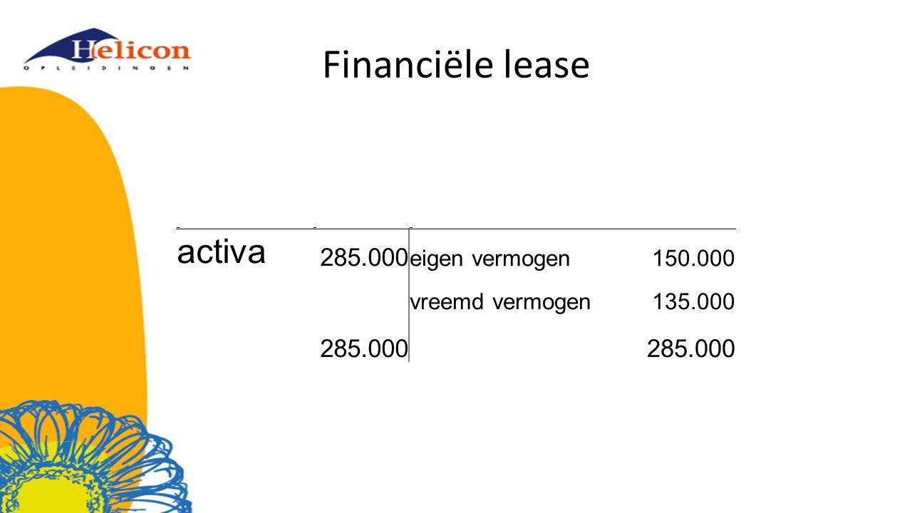 Financiële lease activa 285.000 eigen vermogen 150.000 vreemd vermogen