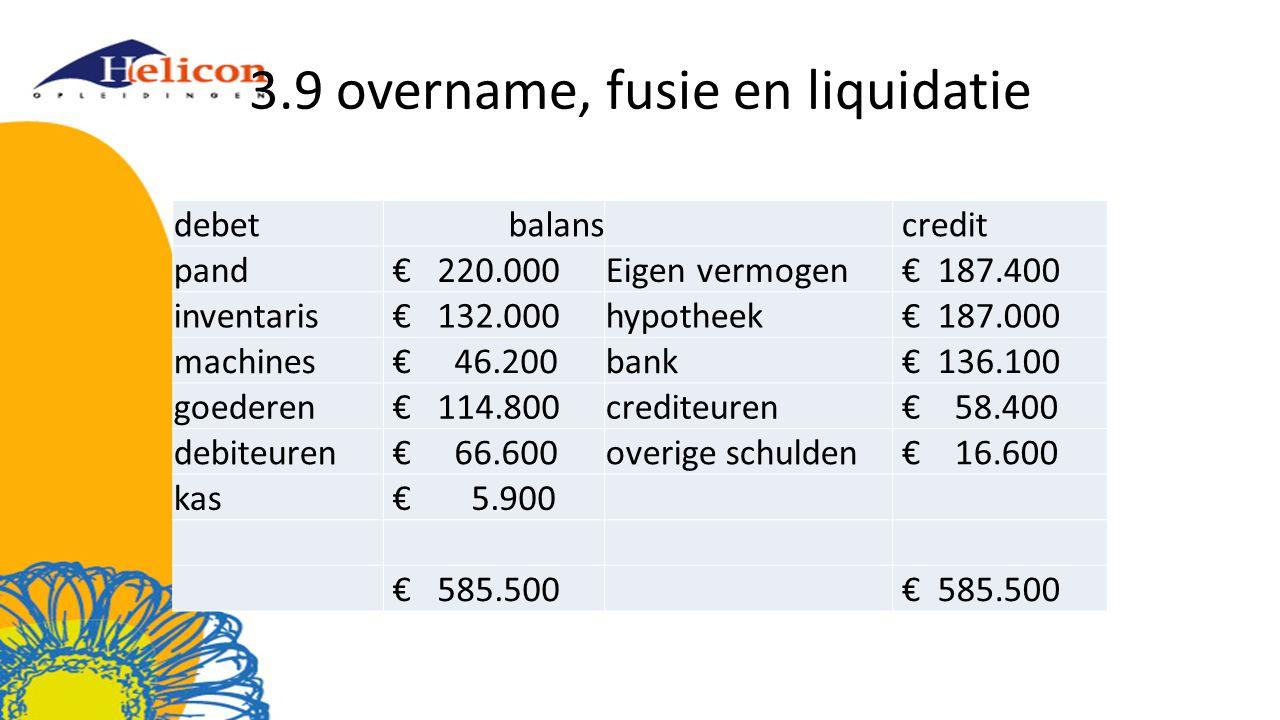 3.9 overname, fusie en liquidatie