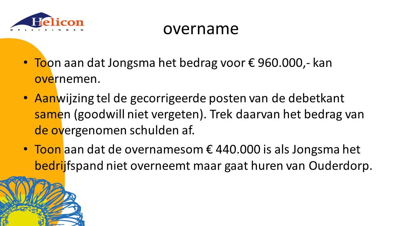 overname Toon aan dat Jongsma het bedrag voor € 960.000,- kan overnemen.
