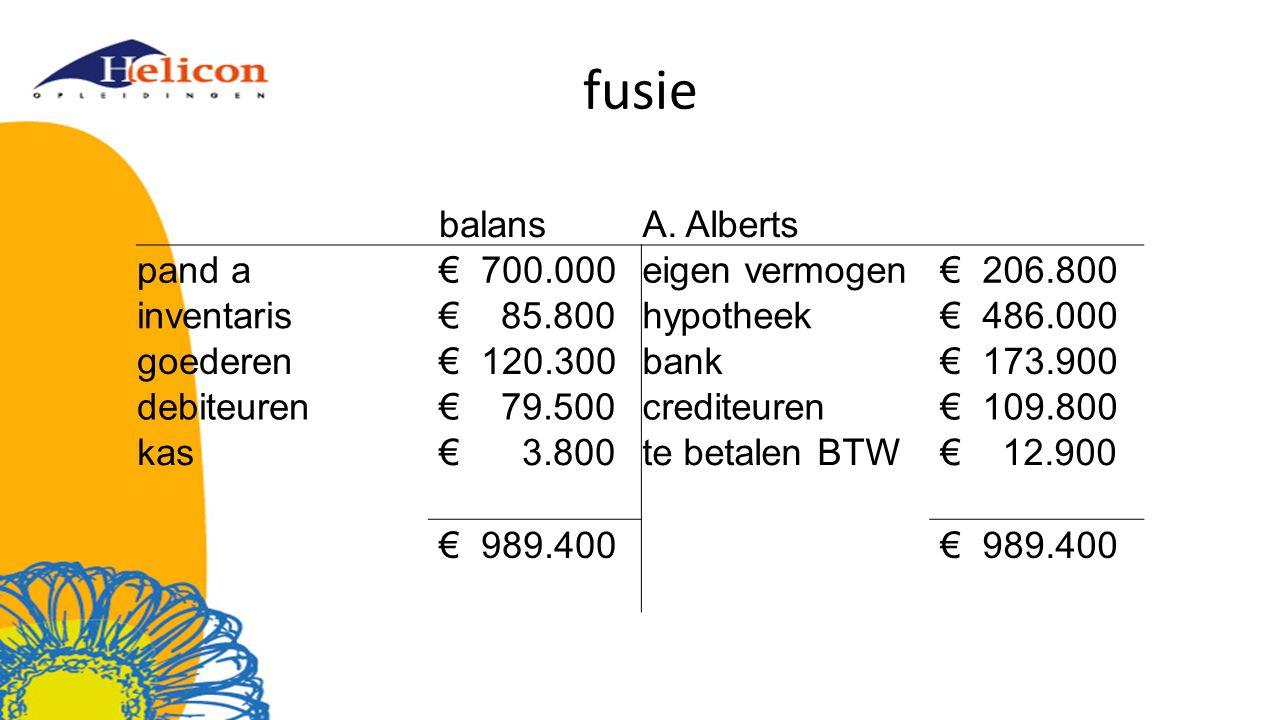 fusie balans A. Alberts pand a € 700.000 eigen vermogen € 206.800
