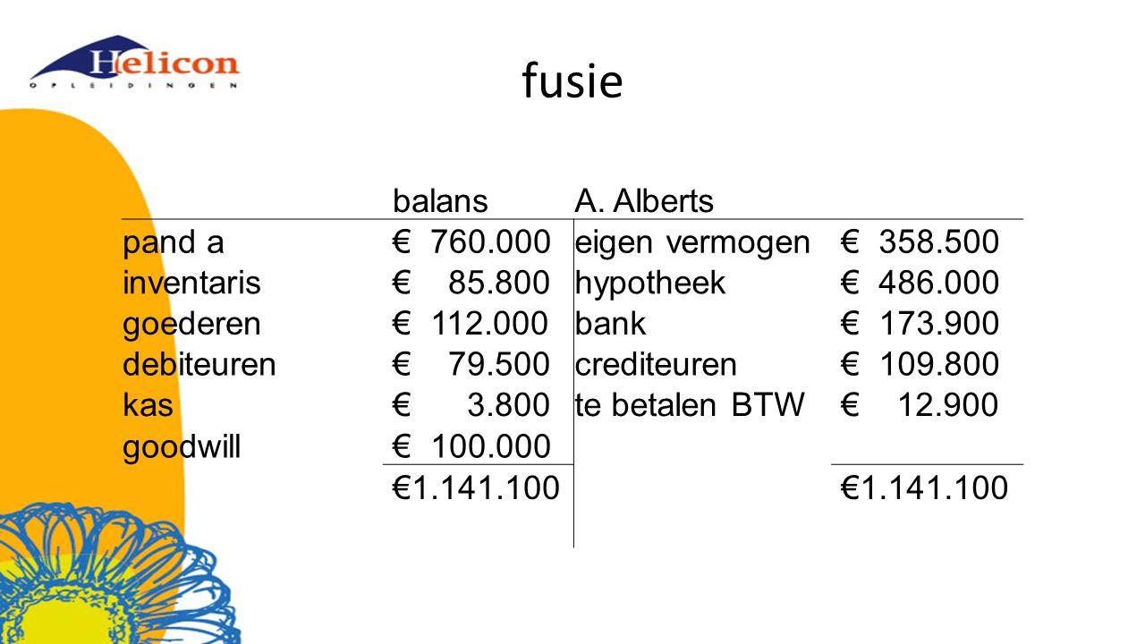 fusie balans A. Alberts pand a € 760.000 eigen vermogen € 358.500