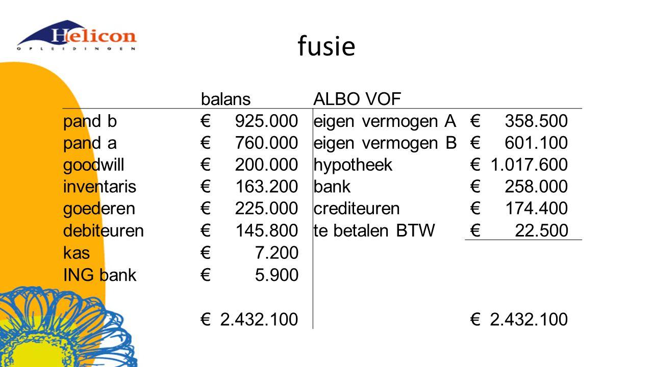 fusie balans ALBO VOF pand b € 925.000 eigen vermogen A € 358.500