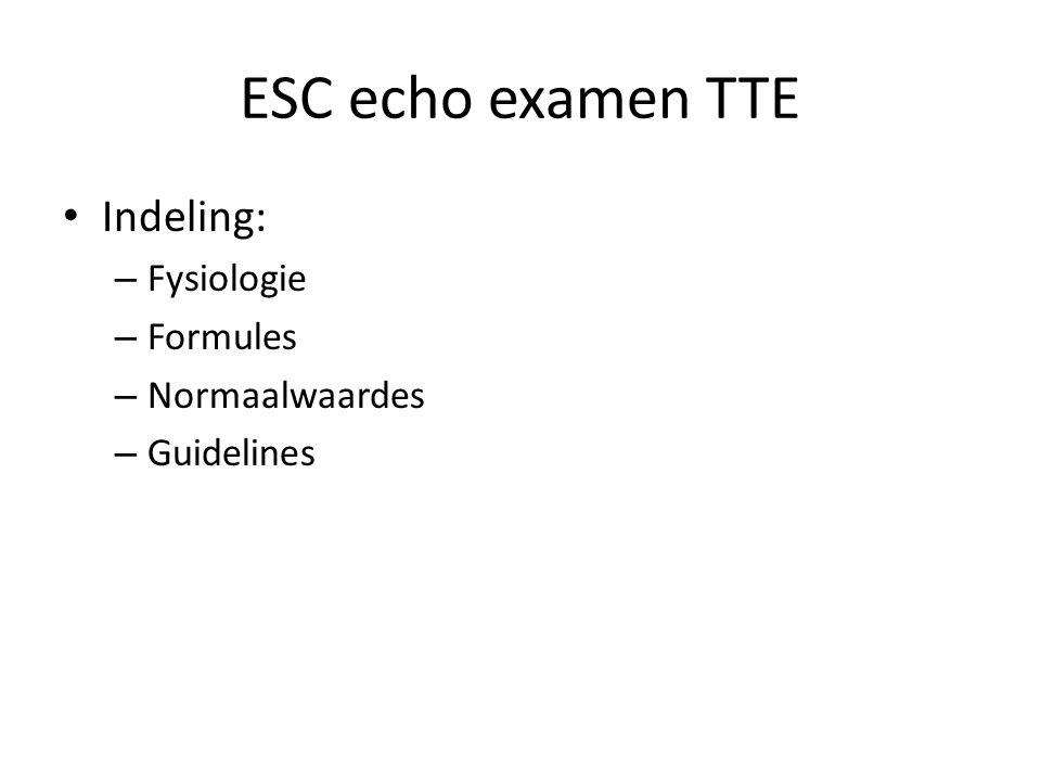ESC echo examen TTE Indeling: Fysiologie Formules Normaalwaardes