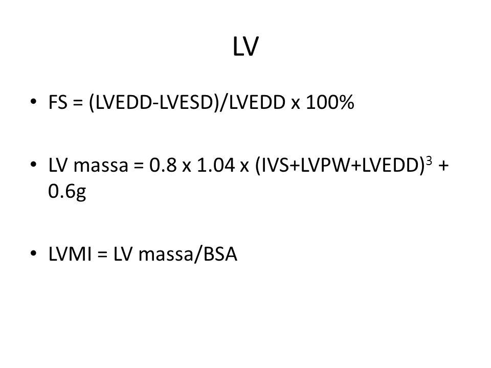 LV FS = (LVEDD-LVESD)/LVEDD x 100%
