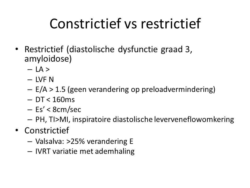 Constrictief vs restrictief