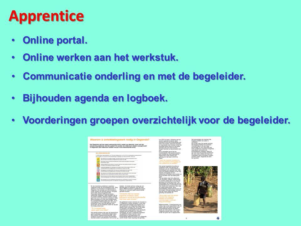 Apprentice Online portal. Online werken aan het werkstuk.