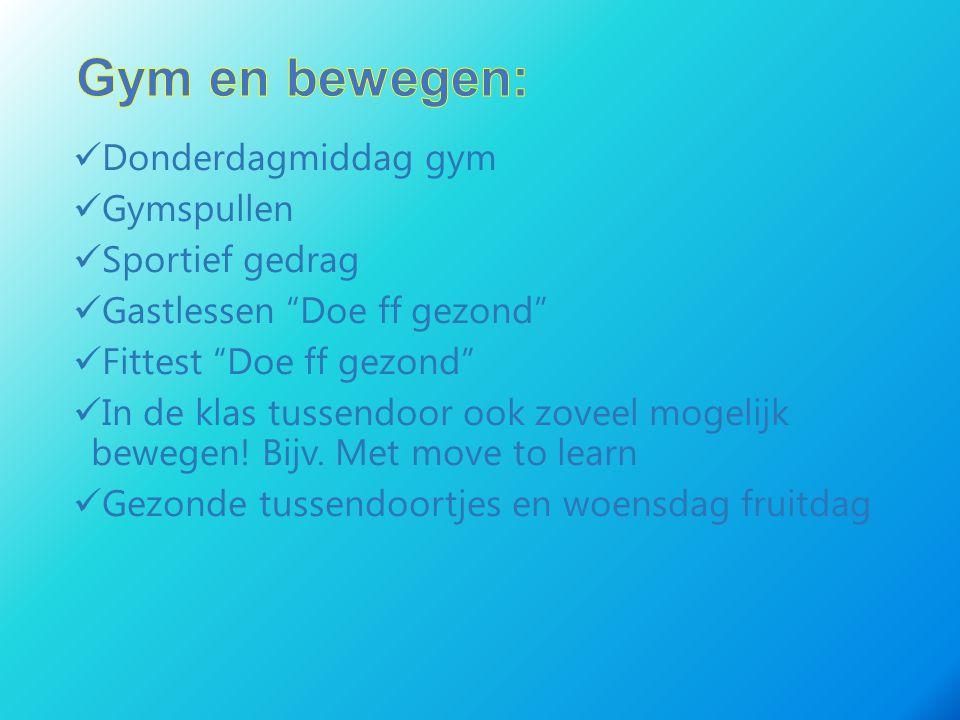 Gym en bewegen: Donderdagmiddag gym Gymspullen Sportief gedrag