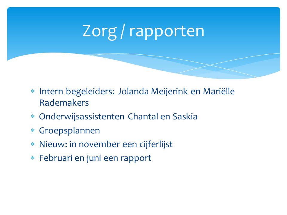 Zorg / rapporten Intern begeleiders: Jolanda Meijerink en Mariëlle Rademakers. Onderwijsassistenten Chantal en Saskia.