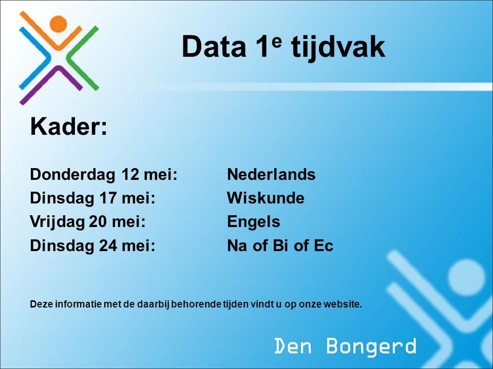 Data 1e tijdvak Kader: Donderdag 12 mei: Nederlands