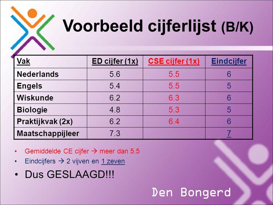 Voorbeeld cijferlijst (B/K)