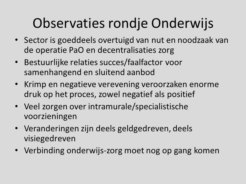Observaties rondje Onderwijs