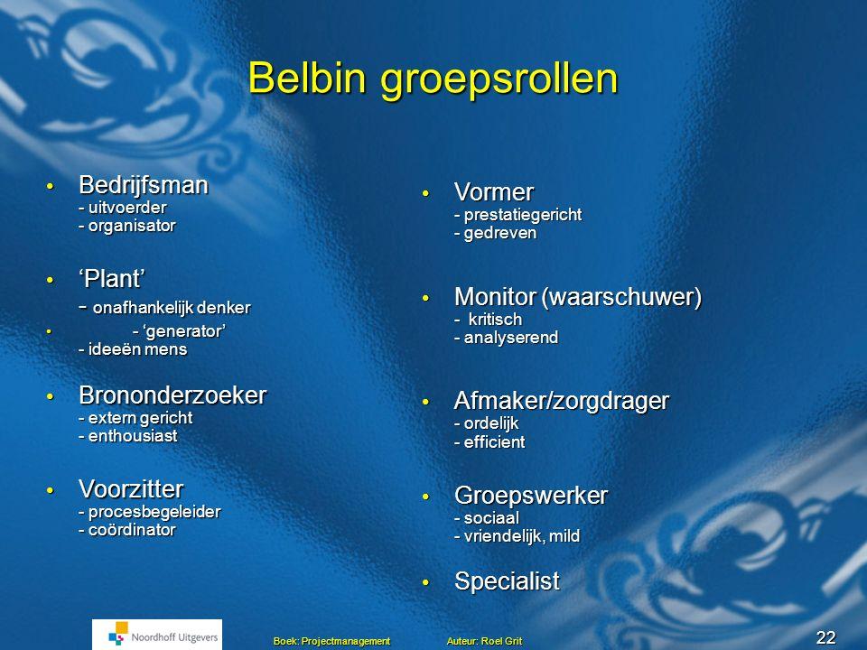 Belbin groepsrollen Bedrijfsman - uitvoerder - organisator