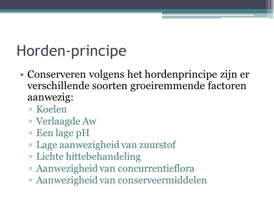 Horden-principe Conserveren volgens het hordenprincipe zijn er verschillende soorten groeiremmende factoren aanwezig:
