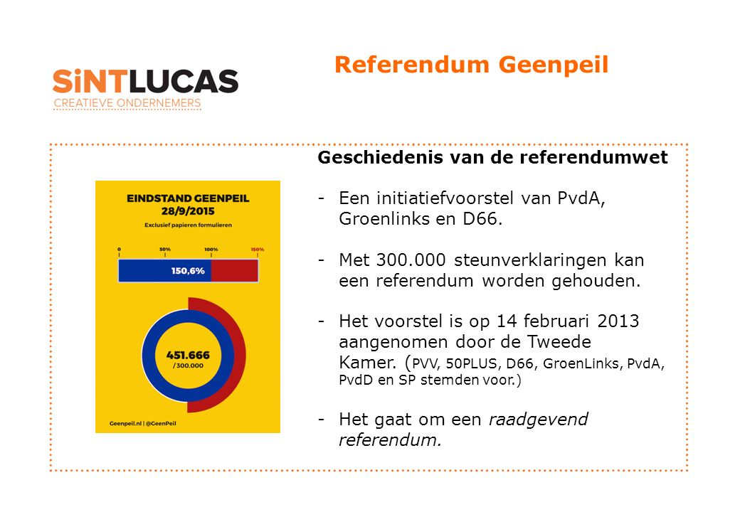 Referendum Geenpeil Geschiedenis van de referendumwet