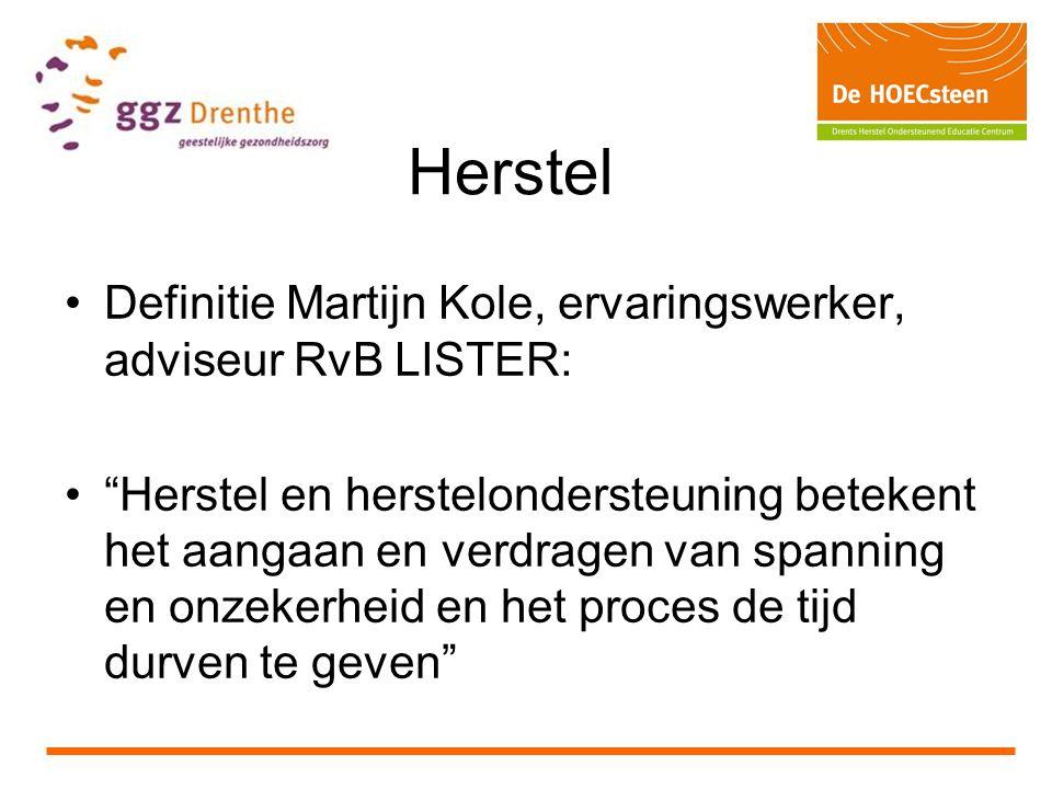 Herstel Definitie Martijn Kole, ervaringswerker, adviseur RvB LISTER: