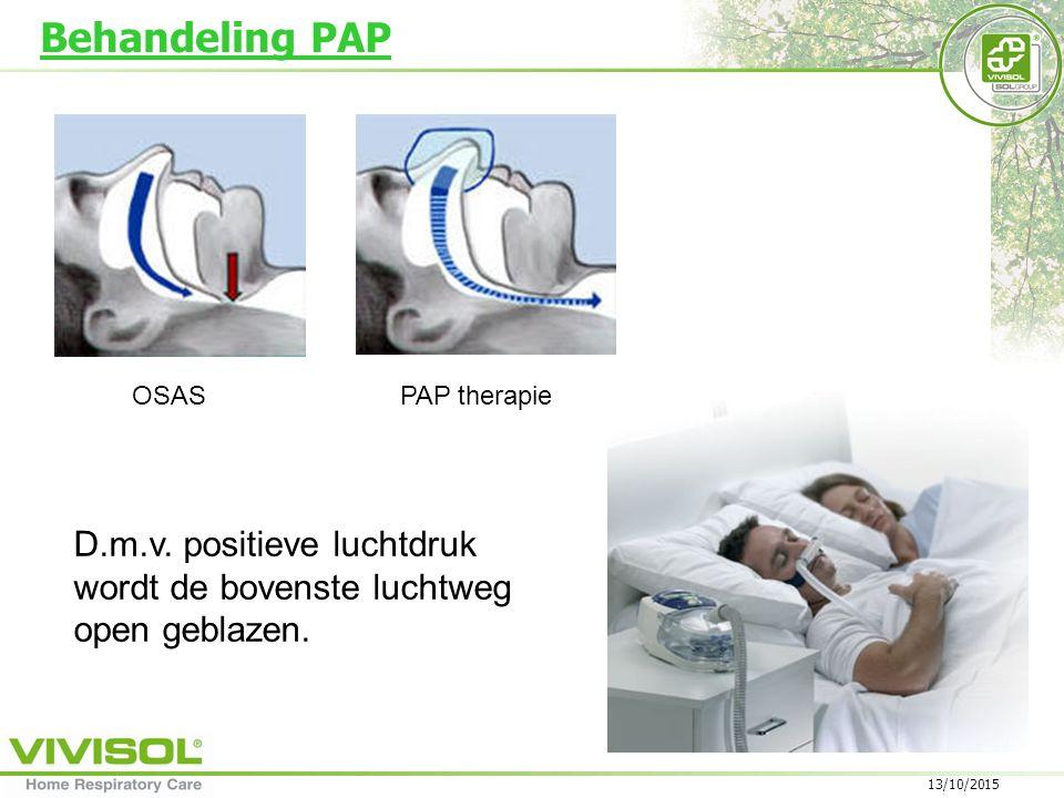 Behandeling PAP D.m.v. positieve luchtdruk wordt de bovenste luchtweg