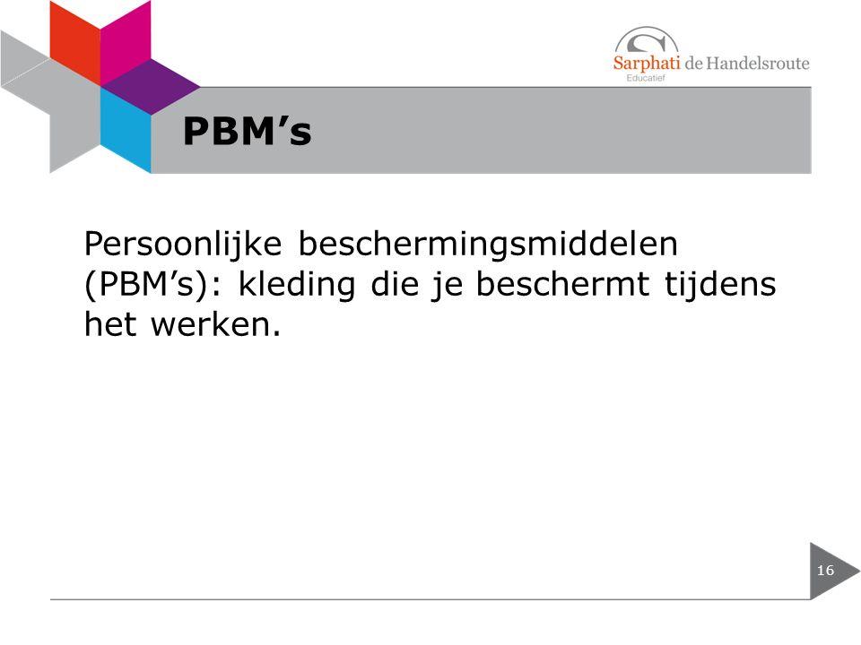 PBM's Persoonlijke beschermingsmiddelen (PBM's): kleding die je beschermt tijdens het werken.