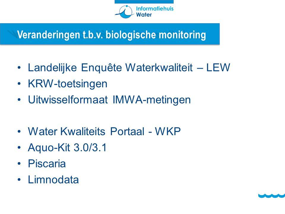 Veranderingen t.b.v. biologische monitoring