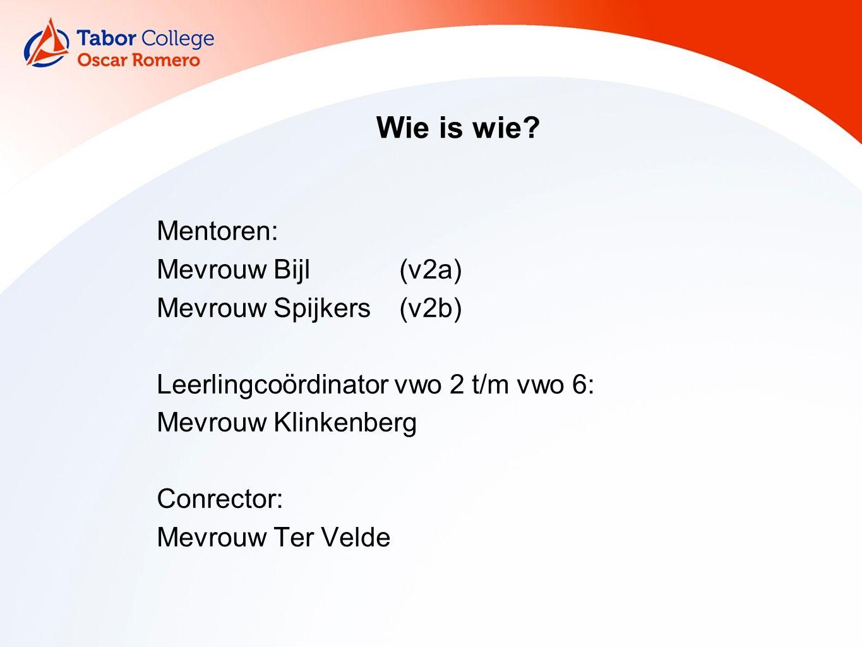 Wie is wie Mentoren: Mevrouw Bijl (v2a) Mevrouw Spijkers (v2b)