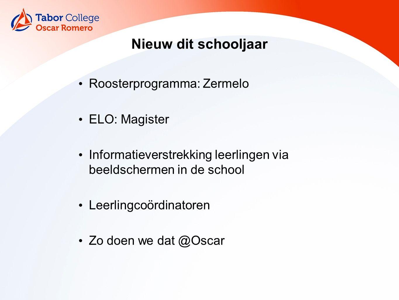Nieuw dit schooljaar Roosterprogramma: Zermelo ELO: Magister