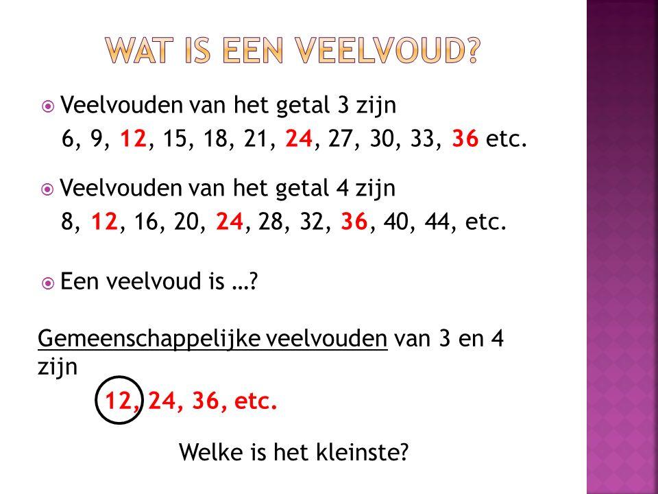 Wat is een veelvoud Veelvouden van het getal 3 zijn