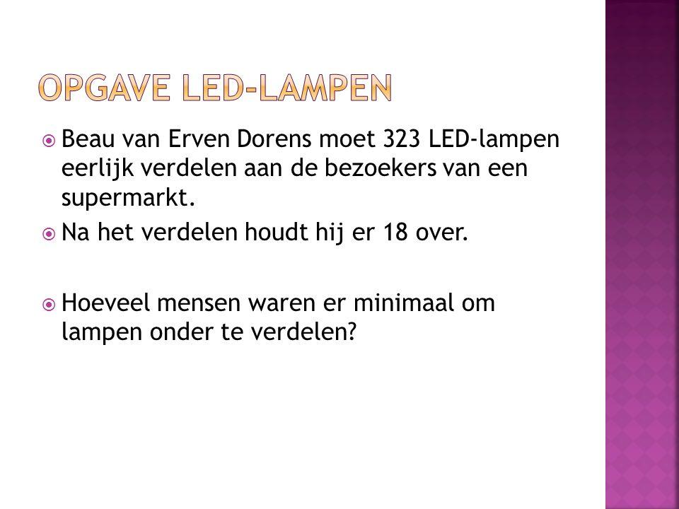 Opgave Led-lampen Beau van Erven Dorens moet 323 LED-lampen eerlijk verdelen aan de bezoekers van een supermarkt.