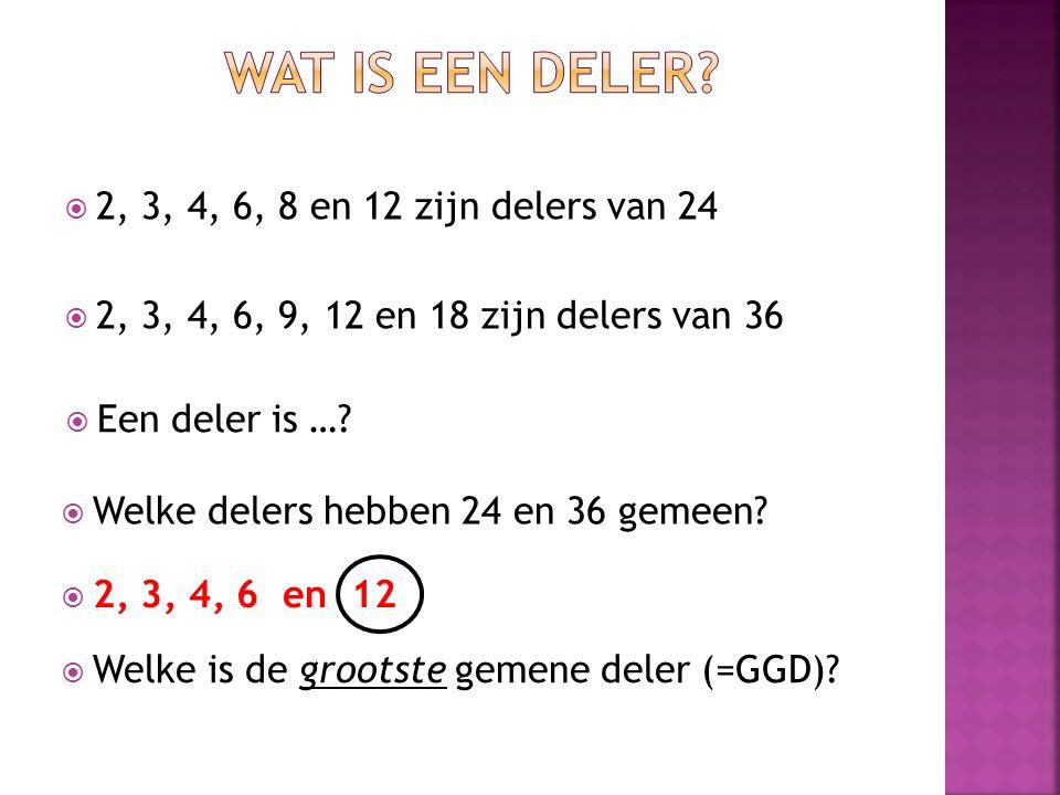Wat is een deler 2, 3, 4, 6, 8 en 12 zijn delers van 24