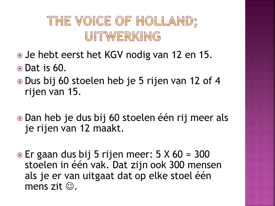 The Voice of Holland; Uitwerking