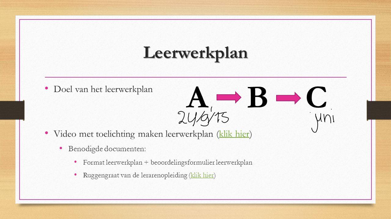 A B C Leerwerkplan Doel van het leerwerkplan