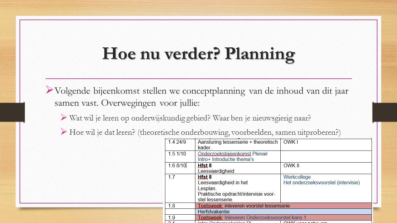 Hoe nu verder Planning Volgende bijeenkomst stellen we conceptplanning van de inhoud van dit jaar samen vast. Overwegingen voor jullie: