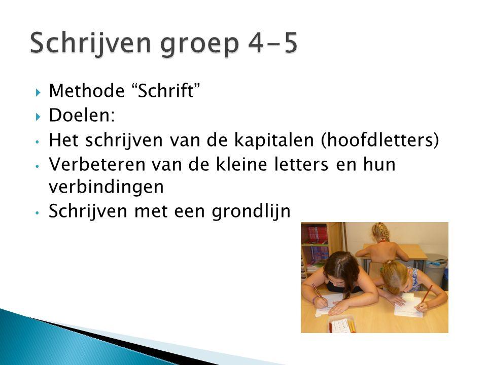 Schrijven groep 4-5 Methode Schrift Doelen: