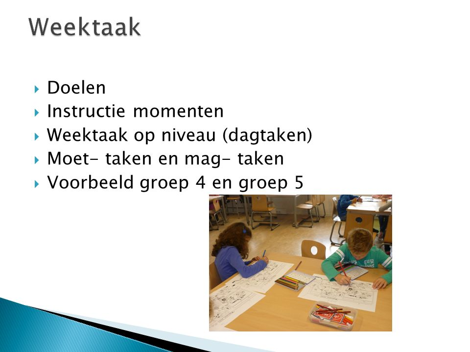 Weektaak Doelen Instructie momenten Weektaak op niveau (dagtaken)