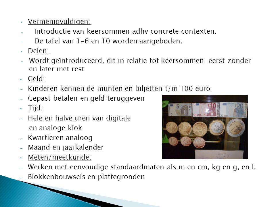 Vermenigvuldigen: Introductie van keersommen adhv concrete contexten. De tafel van 1-6 en 10 worden aangeboden.