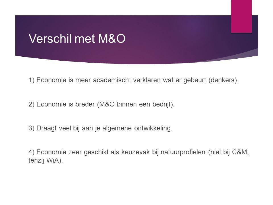 Verschil met M&O 1) Economie is meer academisch: verklaren wat er gebeurt (denkers). 2) Economie is breder (M&O binnen een bedrijf).
