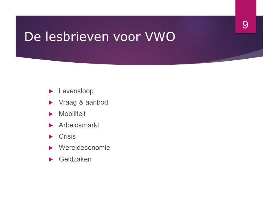De lesbrieven voor VWO Levensloop Vraag & aanbod Mobiliteit