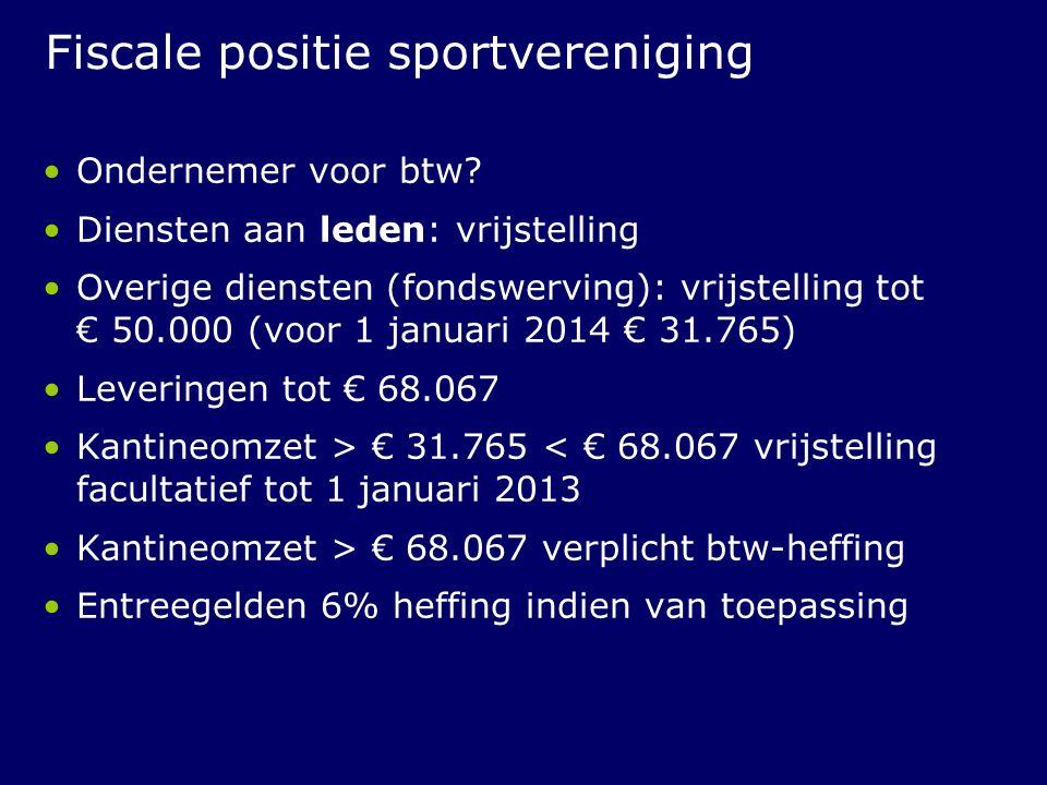 Fiscale positie sportvereniging