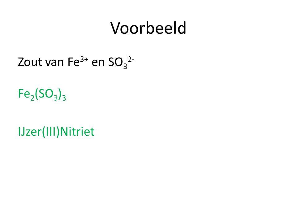 Voorbeeld Zout van Fe3+ en SO32- Fe2(SO3)3 IJzer(III)Nitriet