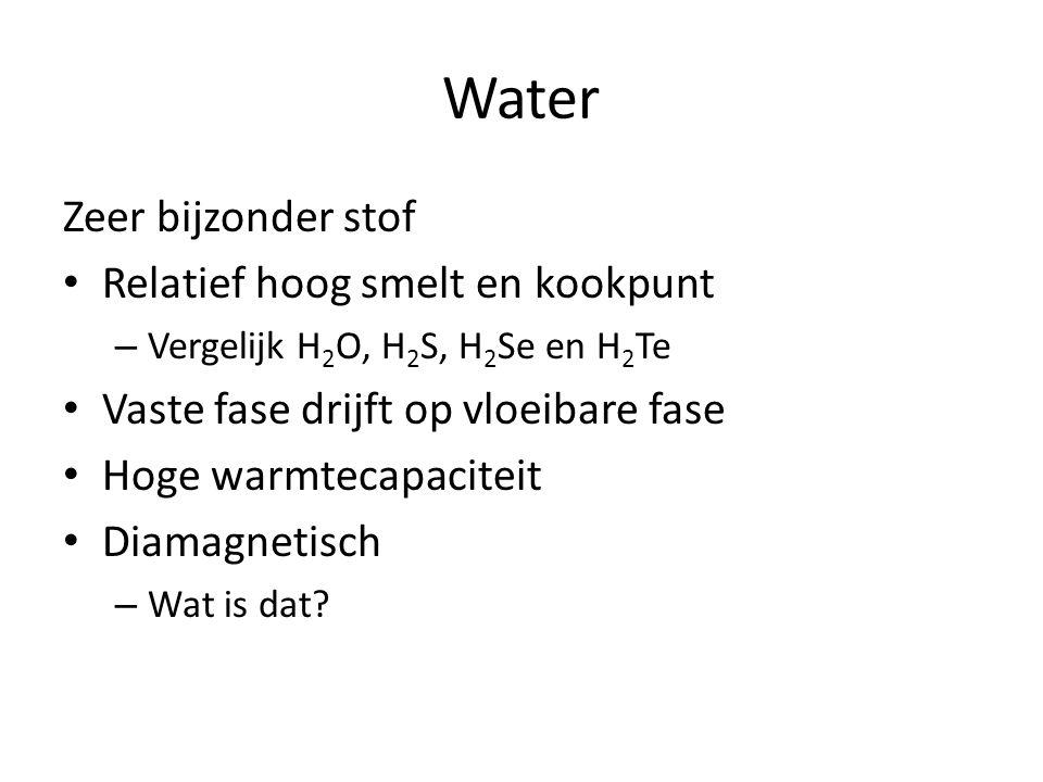 Water Zeer bijzonder stof Relatief hoog smelt en kookpunt