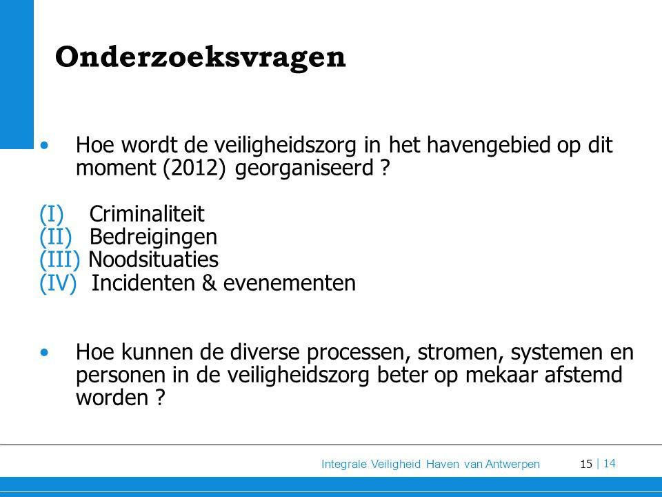 Onderzoeksvragen Hoe wordt de veiligheidszorg in het havengebied op dit moment (2012) georganiseerd