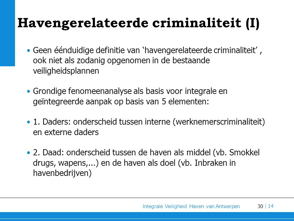 Havengerelateerde criminaliteit (I)