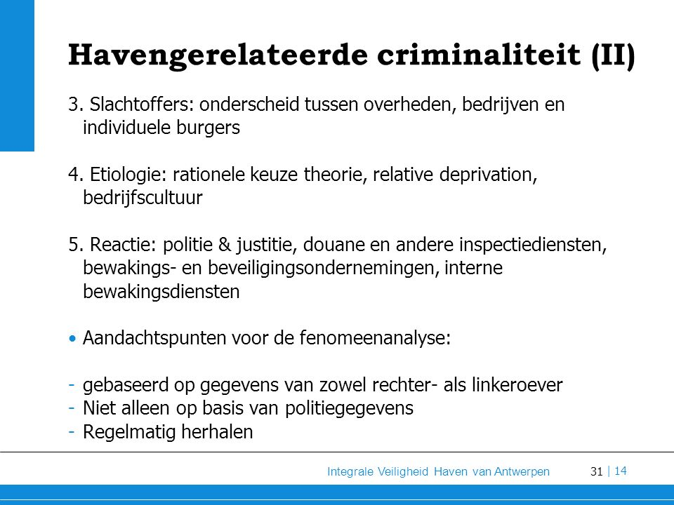 Havengerelateerde criminaliteit (II)