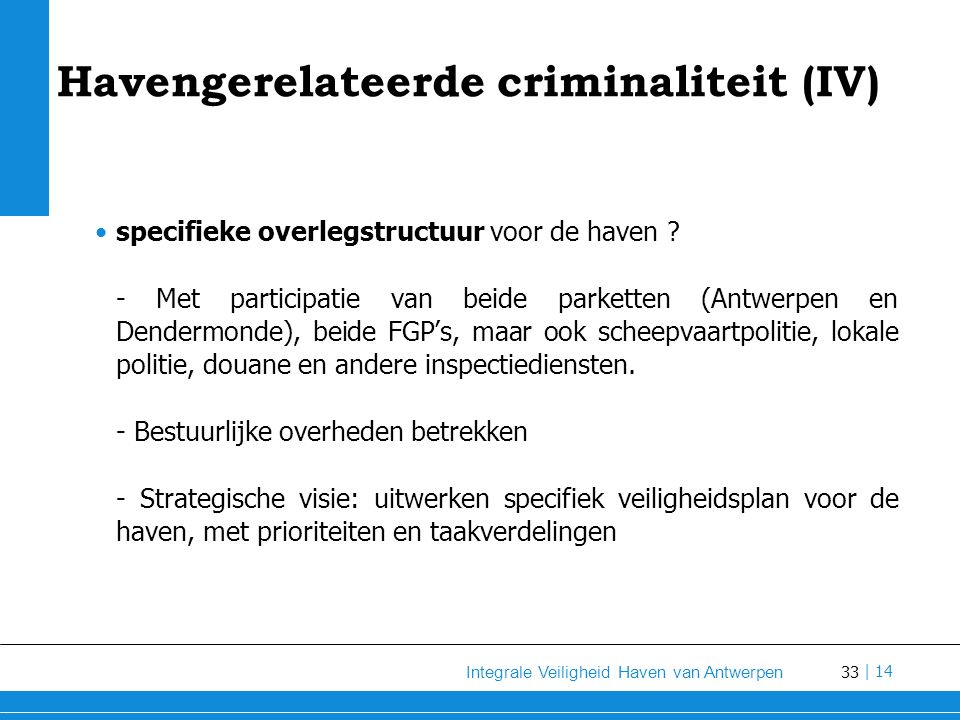 Havengerelateerde criminaliteit (IV)