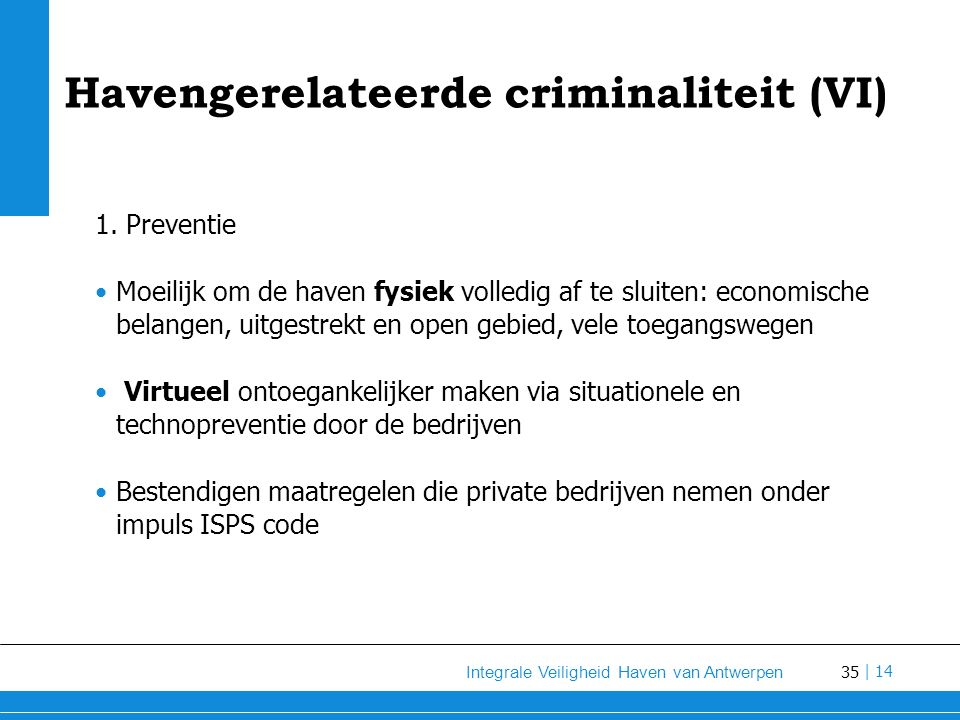 Havengerelateerde criminaliteit (VI)