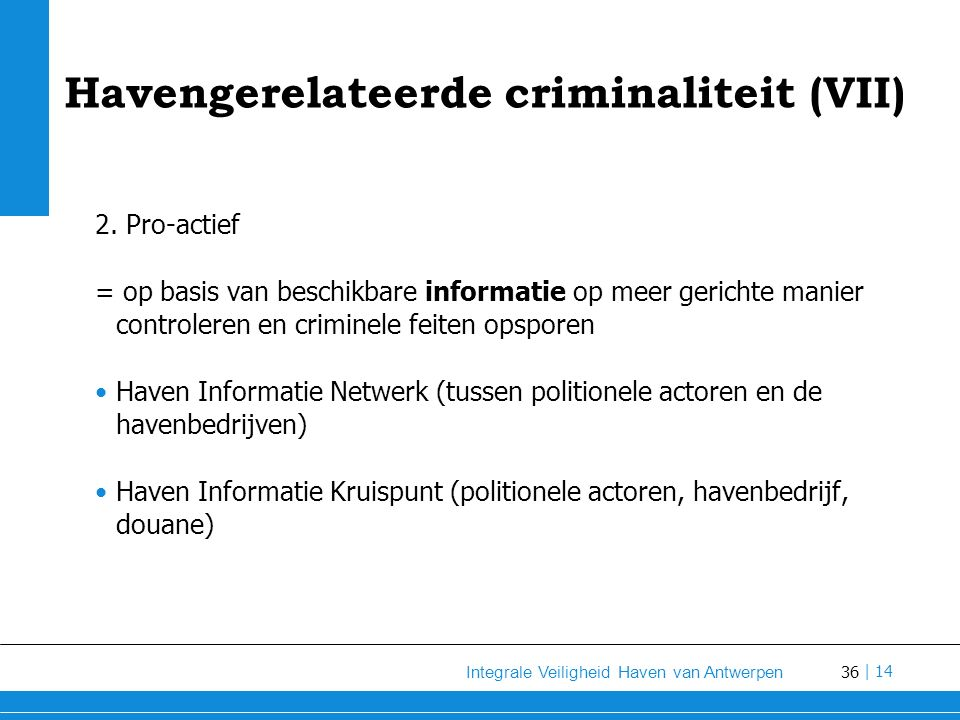 Havengerelateerde criminaliteit (VII)