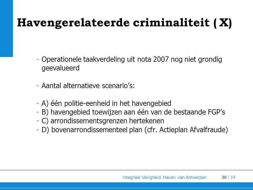 Havengerelateerde criminaliteit ( X)
