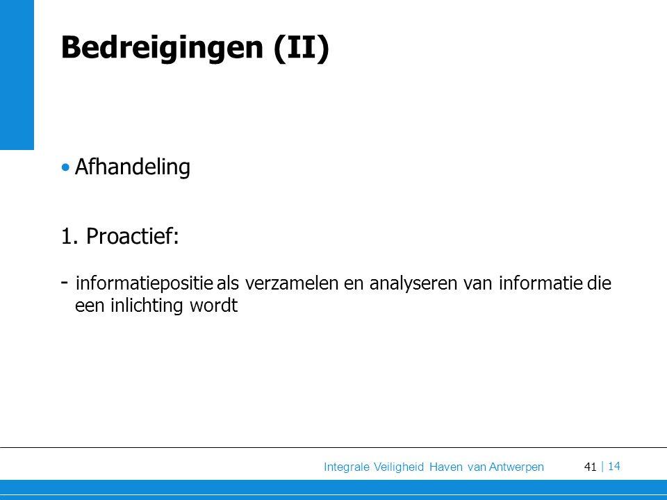 Bedreigingen (II) Afhandeling 1. Proactief: