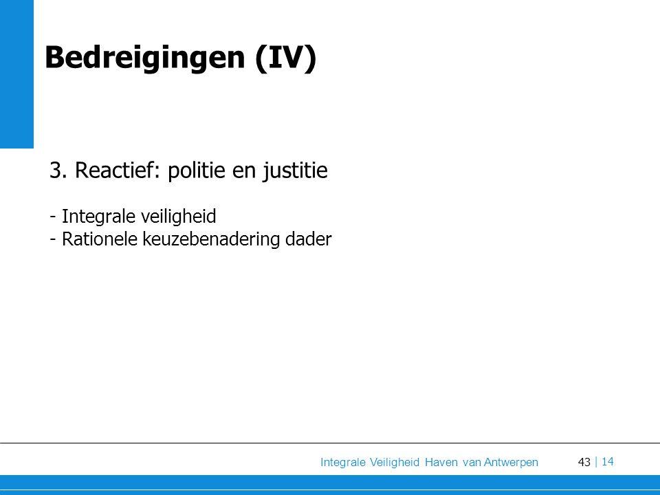 Bedreigingen (IV) 3. Reactief: politie en justitie